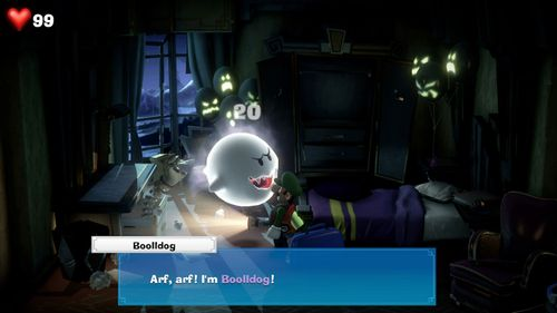 Boolldog, a Boo from Luigi's Mansion 3, found in the RIP Suites.