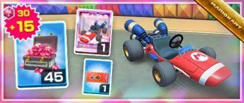 The Red B Dasher Pack from the Mario vs. Luigi Tour in Mario Kart Tour