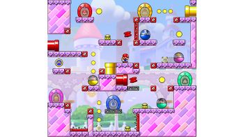 Miiverse screenshot of the 44th official level in the online community of Mario vs. Donkey Kong: Tipping Stars