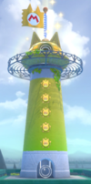 A completed lighthouse in Super Mario 3D World + Bowser's Fury