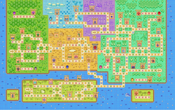 The map of Shroom City from Mario Party Advance.