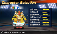 Bowser's stats in the soccer portion of Mario Sports Superstars