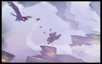 Concept art from Donkey Kong Country Returns showing Kongs fighting a buzzard enemy in a cliff-based area.