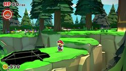 Not-Bottomless Hole No. 1 of Whispering Woods in Paper Mario: The Origami King, the first of many Not-Bottomless Holes in the game