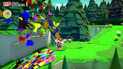 Mario filling in Not-Bottomless Hole No. 14 of Whispering Woods with Confetti in Paper Mario: The Origami King