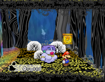 Mario next to the Shine Sprite in the bubble room in the Great Tree.