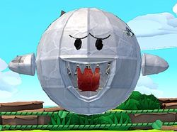 A Paper Macho Boo from Paper Mario: The Origami King.