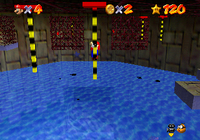 Mario in the mission Pole Jumping for Red Coins at the course Dire, Dire Docks.