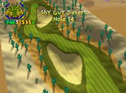 Hole 14 of Shy Guy Desert from Mario Golf