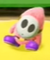A pink Shy Guy in Yoshi's Crafted World.