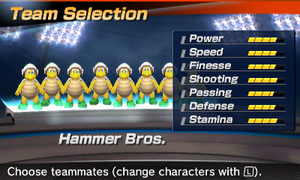 Hammer Bros' stats in the soccer portion of Mario Sports Superstars