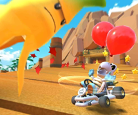 The icon of the Dry Bones Cup challenge from the New York Tour and the Shy Guy Cup challenge from the Jungle Tour in Mario Kart Tour.
