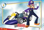 Mario Kart Wii trading card of Waluigi.