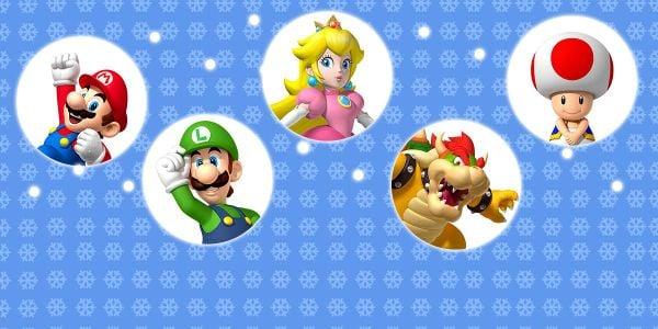 Banner for a Play Nintendo opinion poll on which Mario character to be alongside in a snowball fight. Original filename: <tt>2x1-SnowballFight-v01.0290fa9874e6c2e6db1c3f61b1e85eb024429302.jpg</tt>