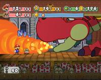 Mario fighting Hooktail