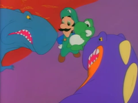 The evil dinosaur and its blue friend, preparing to eat Luigi and Yoshi.