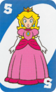 The Blue Five card from the UNO Super Mario deck (featuring Princess Peach)