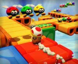 The illustration of Drop-Road Dash in Captain Toad: Treasure Tracker.