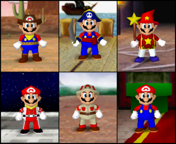 Mario's outfits in the game Mario Party 2.