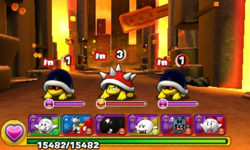 Screenshot of World 8-6, from Puzzle & Dragons: Super Mario Bros. Edition.
