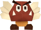 An origami Paragoomba from Paper Mario: The Origami King.