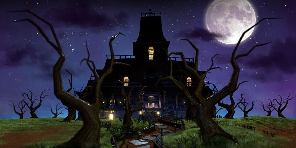 """Banner for a Play Nintendo opinion poll on """"who would host the spookiest haunted house"""". Original filename: <tt>2x1-halloween_18_poll_1.0290fa98.jpg</tt>"""
