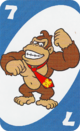 The Blue Seven card from the UNO Super Mario deck (featuring Donkey Kong)