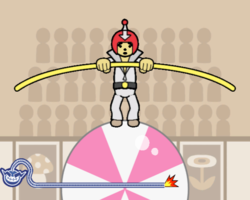 Keep Your Guy in the Ball in WarioWare: Smooth Moves.