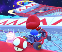 The icon of the Baby Daisy Cup challenge from the Peach vs. Daisy Tour in Mario Kart Tour.