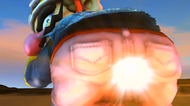 Wario charging up and firing up his Wario Waft, creating a huge explosion.