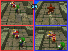 BabyLuigiOnFire and the original uploader competing against the CPU in Team Treasure Trek from Mario Party 4