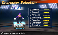 Waluigi's stats in the soccer portion of Mario Sports Superstars