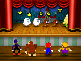 Curtain Call: A group of characters being tasked on memorizing the position of the dancing creatures onstage. From Mario Party 3.