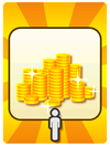 A Venture Card from Fortune Street indicating a player is receiving Gold
