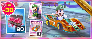 The Orange Streamliner Pack from the 2021 Los Angeles Tour in Mario Kart Tour