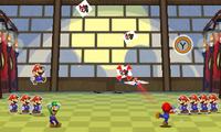 Luigi just threw a paper shuriken to Wiggler's head during Trio Shuriken.