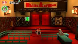 Mario in the lobby of Big Sho' Theater in Paper Mario: The Origami King
