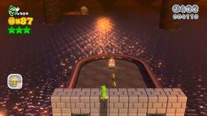Hidden Luigi in Bowser's Highway Showdown.