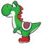 Artwork of Yoshi, from Super Mario World.