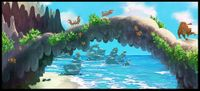 Concept artwork from Donkey Kong Country Returns showing a beach-like area.
