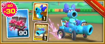 The Light-blue Turbo Birdo Pack from the Marine Tour in Mario Kart Tour