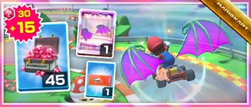 The Wicked Wings Pack from the Pirate Tour in Mario Kart Tour