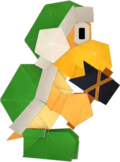 An origami Hammer Bro from Paper Mario: The Origami King.
