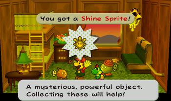 Mario next to the Shine Sprite from Bub in Paper Mario: The Thousand-Year Door.
