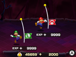Post battle screen from Mario & Luigi: Bowser's Inside Story + Bowser Jr.'s Journey