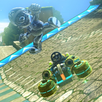 Metal Mario performing a trick in Mario Kart 8.