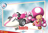 Mario Kart Wii trading card of Toadette.