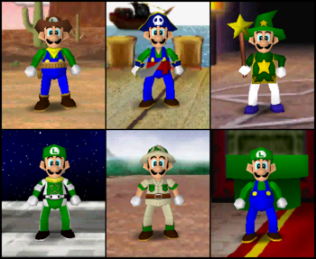 Luigi's outfits in the game Mario Party 2.