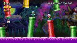 Painted Pipeworks, the fifth level of Soda Jungle in New Super Luigi U.