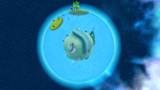"A screenshot of Drip Drop Galaxy during the ""Giant Eel Outbreak"" mission from Super Mario Galaxy."
